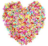 Стикеры Фимо 3D наклейки для ногтей декора разная тематика YRE, 1000 шт Цветы