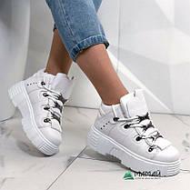 39р Кросівки жіночі білі на платформі, фото 3
