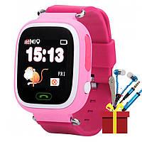 """★Смарт-часы UWatch Q90 Pink детские с GPS трекером WiFi цветной экран 1.22"""" Sim батарея 400 мАч работа с IOS"""