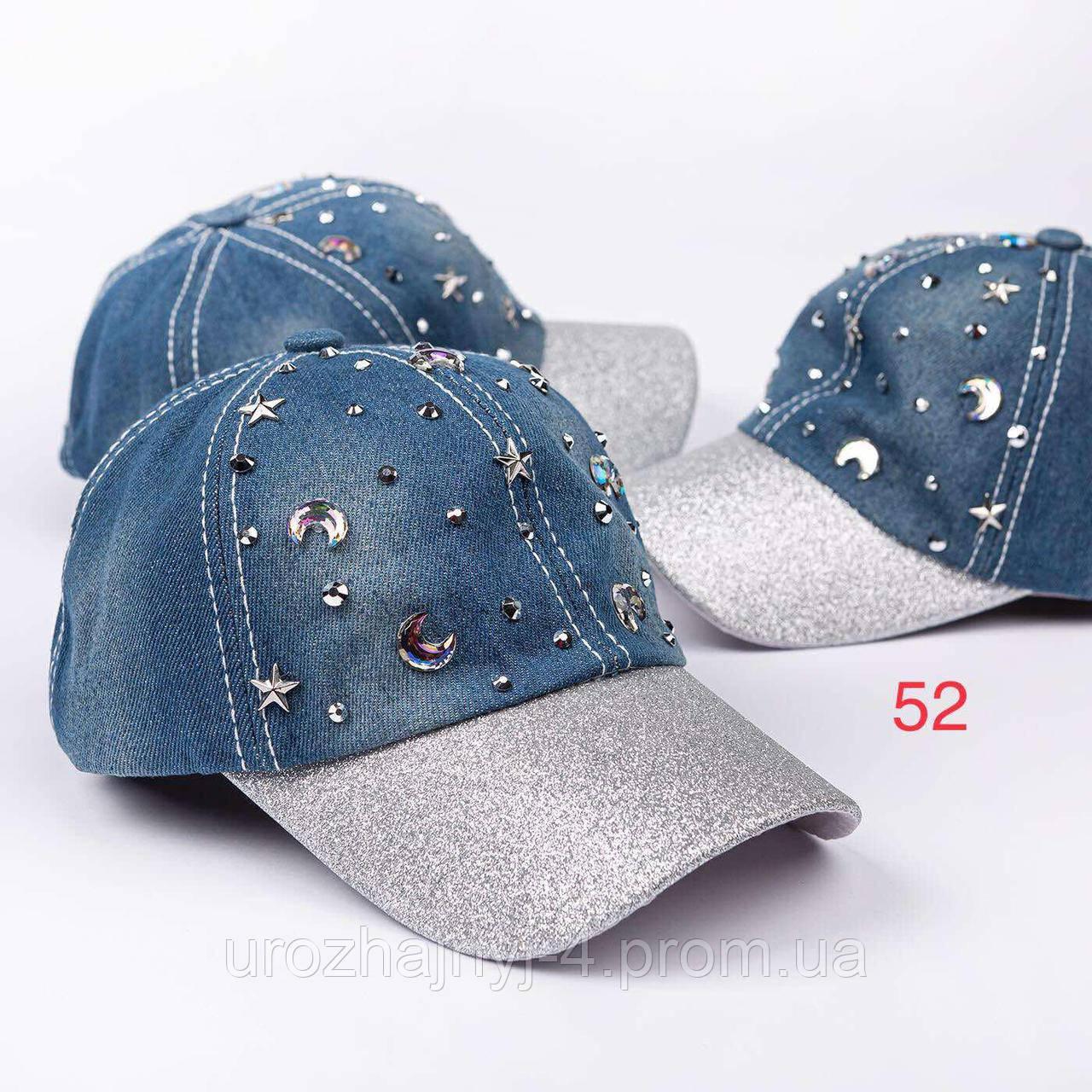 Джинсовая кепка с стразами р50-52