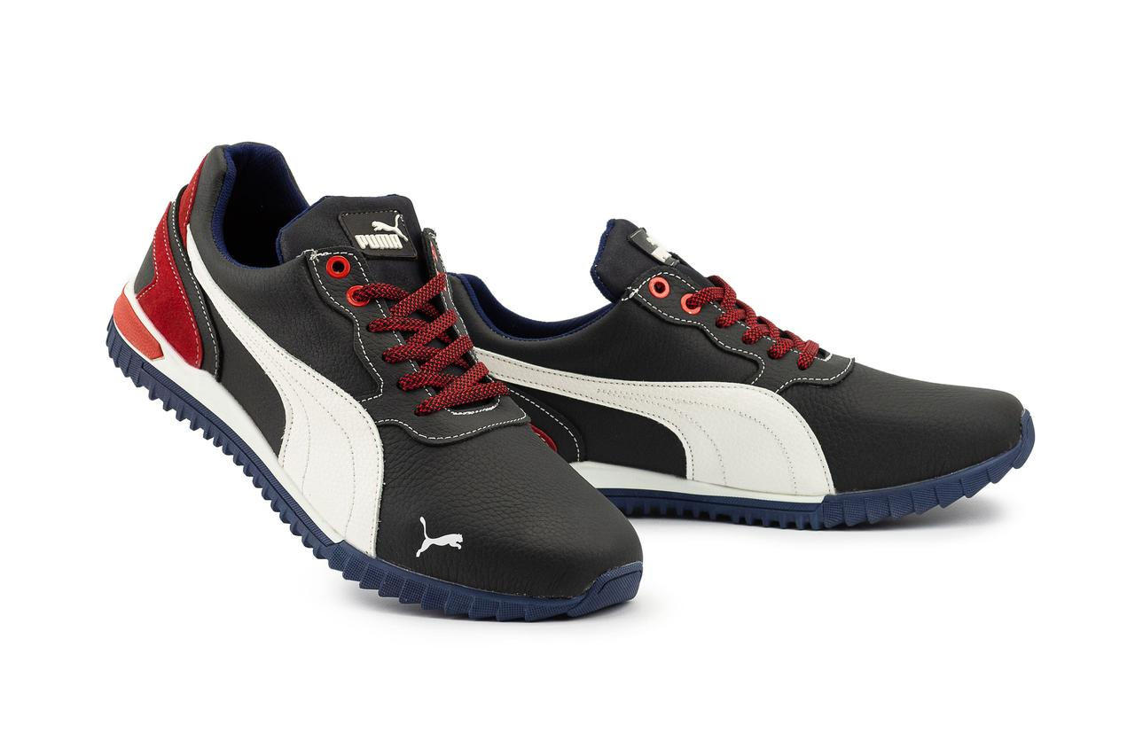 Мужские кроссовки кожаные весна/осень синие-белые CrosSAV 44