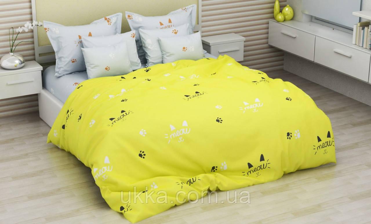 Детское постельное белье полуторное Мяу комплект подростковый бязь