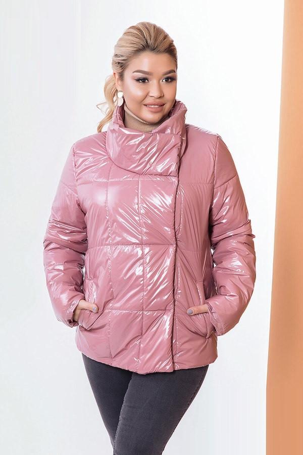 Стильная куртка с асимметричной застежкой 58170 (42–58р) в расцветках