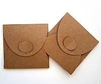 Подарочный конверт из эко крафт-картона 70 х 70 мм + ПОДАРОК (на 200 шт конвертов)