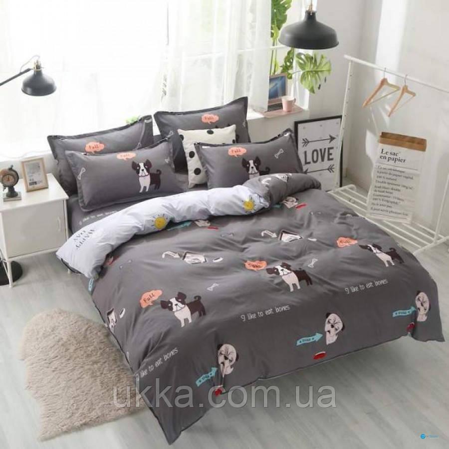 Детское постельное белье полуторное Мопс комплект подростковый