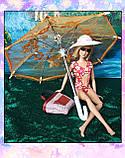 Зонт раскладной оранжевый (аксессуары для кукол), фото 3