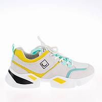 Женские яркие кроссовки Lonza FLM90012 WHITE/YELLOW ВЕСНА 2020 /// F90012, фото 1