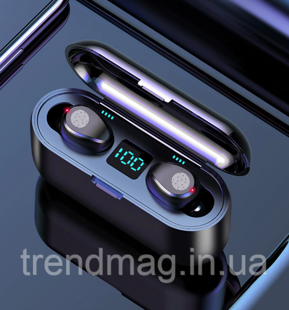 Беспроводные Bluetooth наушники F9. Индикатор заряда - LED Power Display. Power Bank