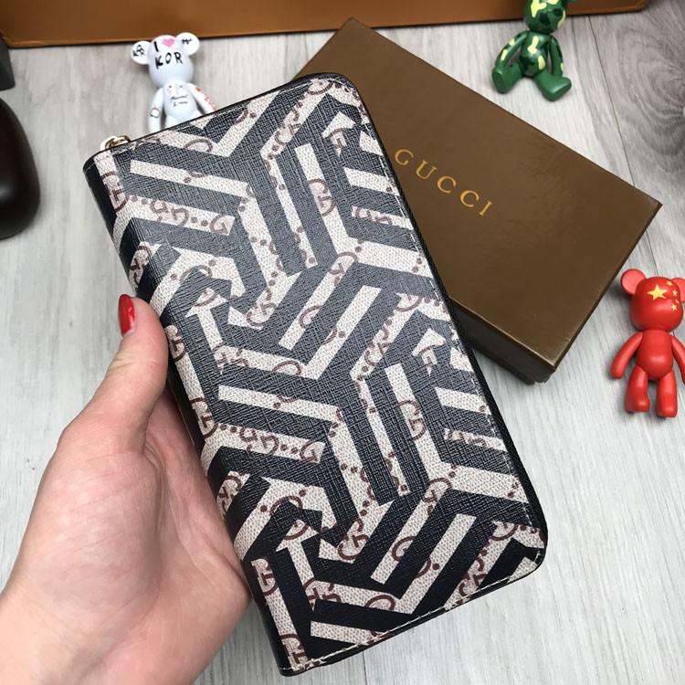 Модный женский кошелек на молнии Gucci коричневый Премиум Качество клатч Стильный Трендовый Гуччи реплика