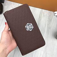 Стильный мужской кошелек на молнии Philipp Plein коричневый Люкс Качество клатч Трендовый Филипп Плейн копия