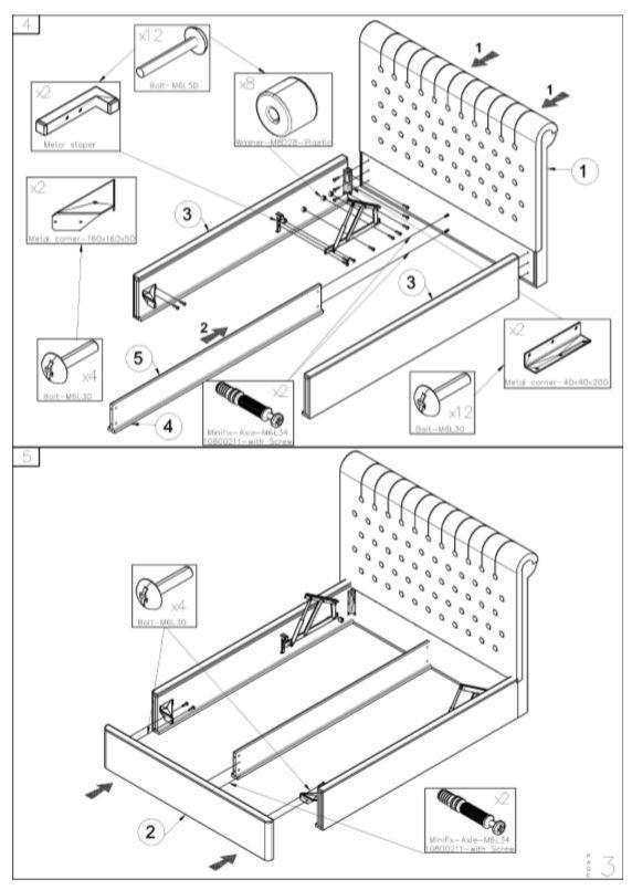 Кровать двуспальная Честер MW1600 (Embawood) схема (3)