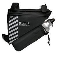 Велосипедная сумка B-Soul в раму с отсеком под флягу черная