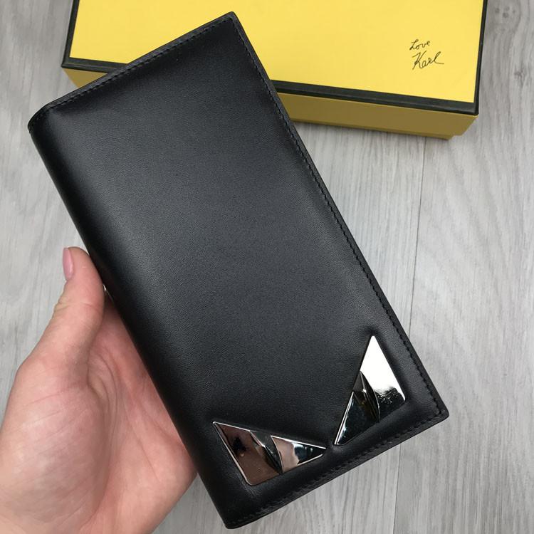 Стильный Кожаный мужской кошелек Fendi черный Премиум натуральная кожа бумажник Трендовый Фенди реплика