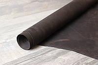"""Кожа натуральная """"Crazy horse"""" (Dark chocolate) Темно-коричневая, толщина 1.4-1.6 мм."""