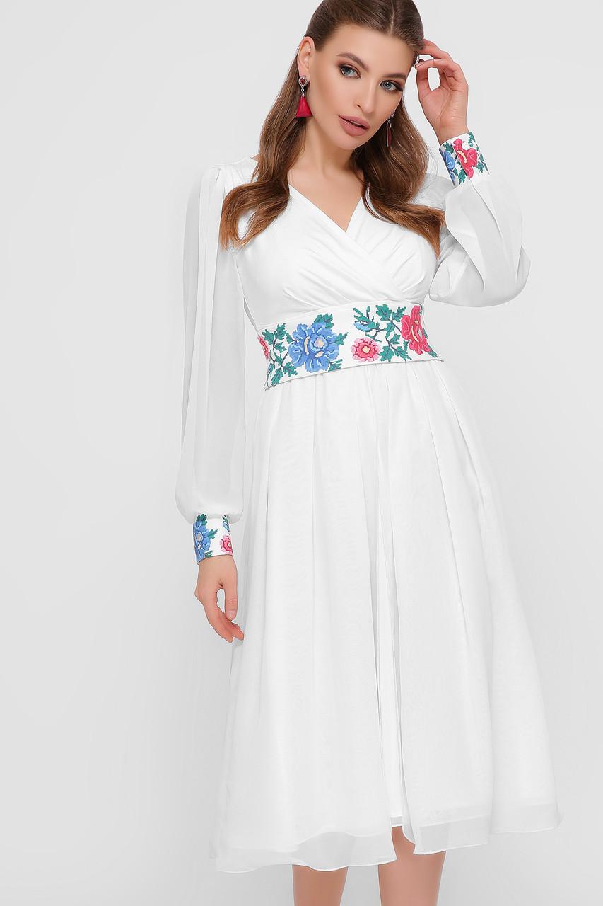 Шифоновое белое платье в стиле с орнаментом Размеры S, M, L, XL