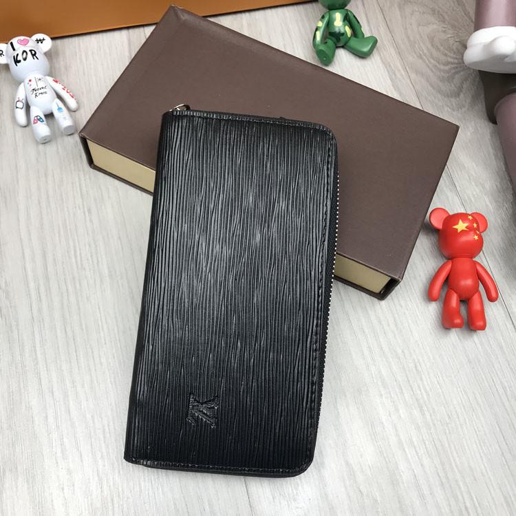 Стильный мужской кошелек на молнии Louis Vuitton черный Премиум Качество клатч Брендовый Louis Vuitton реплика