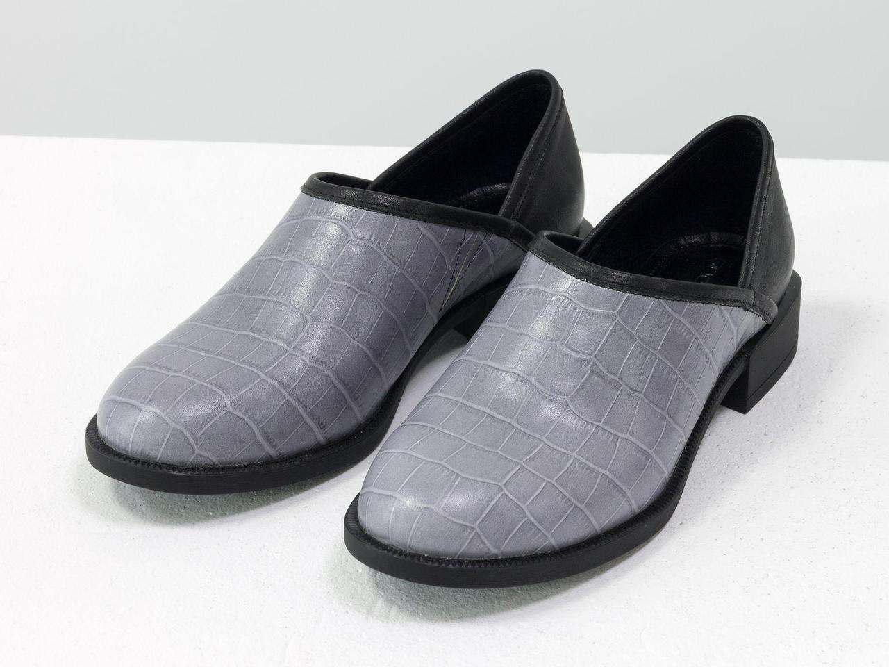 Элегантные женские туфли из натуральной кожи серого цвета с текстурой крокодил и пятки черного цвета, 36-41