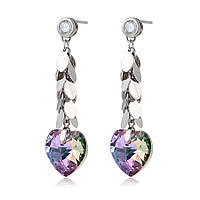Серьги сердца большие с кристаллами swarovski женские длинные ювелирная бижутерия хупинг цвет фиолетовый