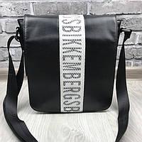 Трендовая сумка планшетка Bikkembergs черная Премиум Качество мужская сумка через плечо VIP Биккемберг реплика