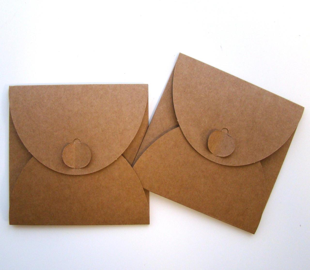 Подарочный конверт из эко крафт-картона 100 х 100 мм + ПОДАРОК (на 200 шт конвертов)