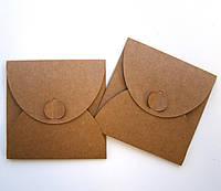 Подарочный конверт из эко крафт-картона 100 х 100 мм + ПОДАРОК (на 200 шт конвертов), фото 1