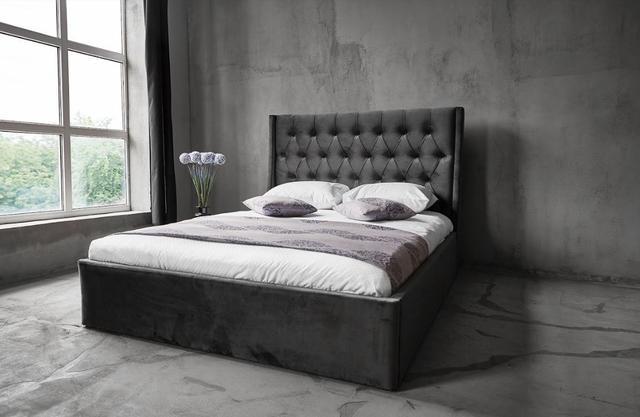 Кровать Борнео с подъемным механизмом MW1600 (Embawood) темно серая