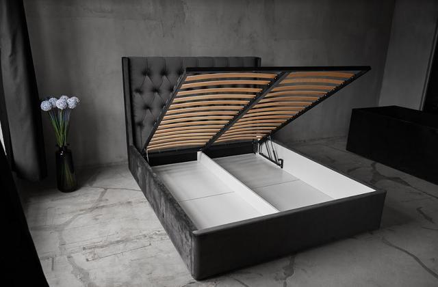 Кровать Борнео с подъемным механизмом MW1600 (Embawood) темно серая (4)