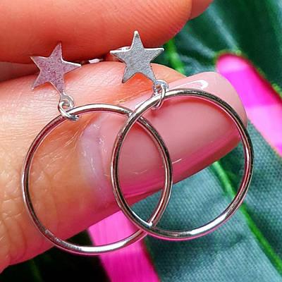 Сережки срібні Зірочки - Сережки пуссети Зірки срібло