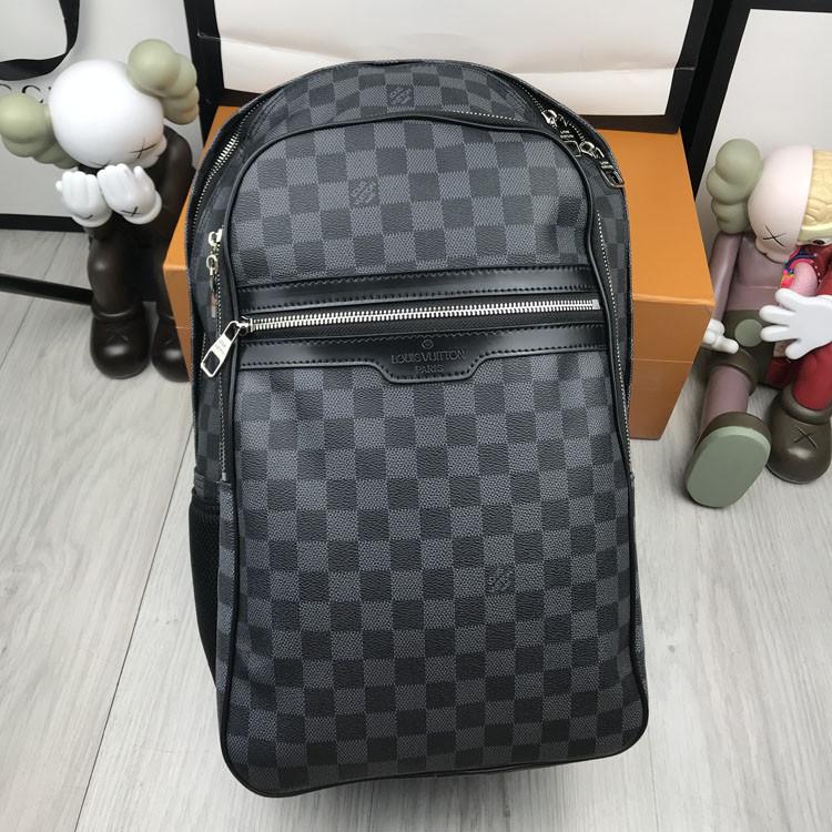 Кожаный женский рюкзак Louis Vuitton серый натуральная кожа Качество портфель Стильный Луи Виттон реплика