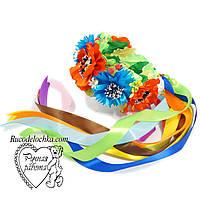Венок украинский с лентами маки, ромашки, васильки ручной работы Любые цветы