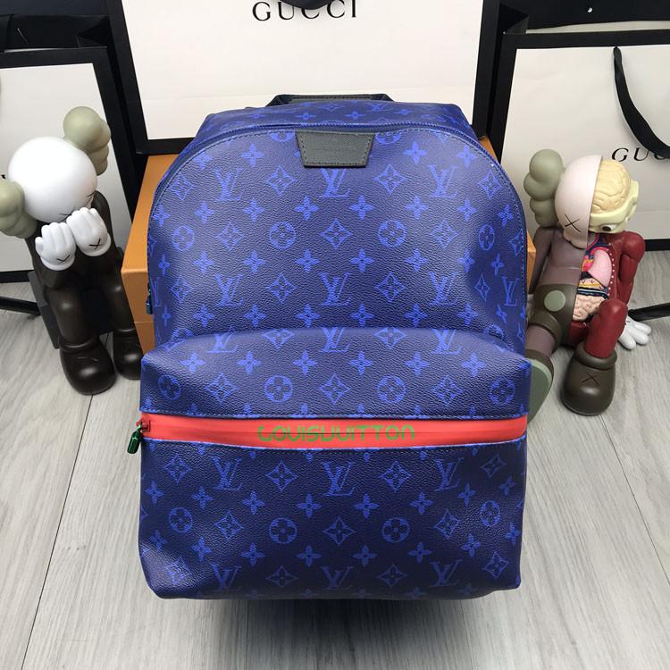 Кожаный мужской рюкзак Louis Vuitton синий натуральная кожа Качество портфель Молодежный Луи Виттон реплика