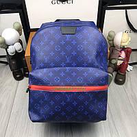 Кожаный мужской рюкзак Louis Vuitton синий натуральная кожа Качество портфель Молодежный Луи Виттон реплика, фото 1