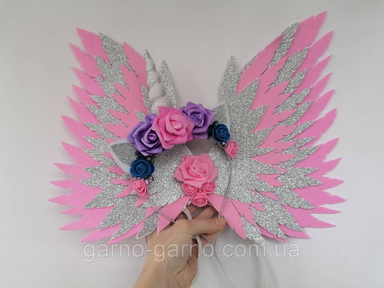 Крила єдинорога і обруч Єдиноріг Прикраса для волосся рожевий