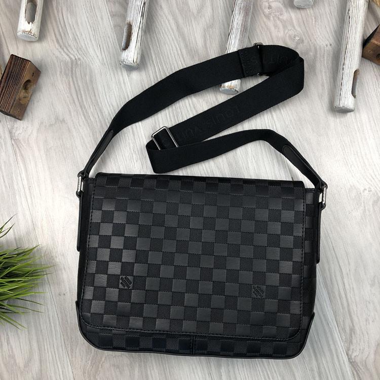 Кожаная мужская сумка мессенджер Louis Vuitton черная натуральная кожа сумка на плечо Луи Виттон реплика