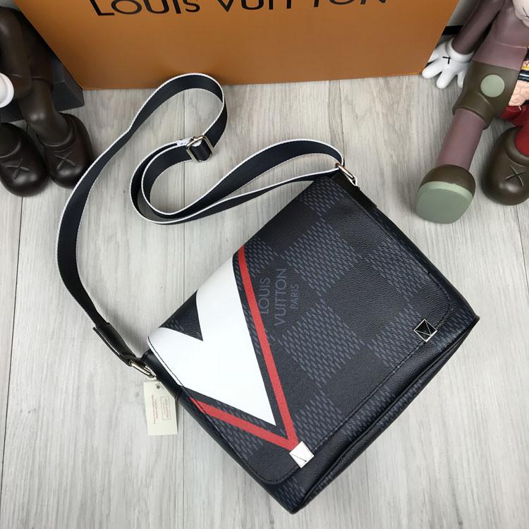 Молодежная мужская сумка мессенджер Louis Vuitton серая Качество сумка на плечо Трендовая Луи Виттон реплика