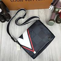 Молодежная мужская сумка мессенджер Louis Vuitton серая Качество сумка на плечо Трендовая Луи Виттон реплика, фото 1