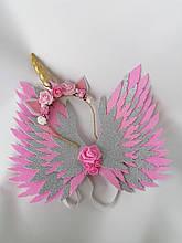 Крылья единорога и обруч Единорог Украшение для волос розовый