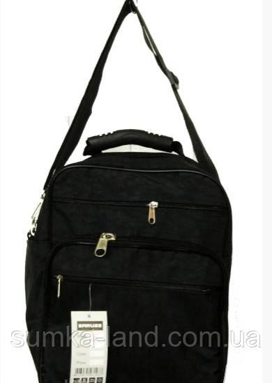 Мужская черная сумка на плечо Saruss на 2 отделения на молнии 35*27*19 см