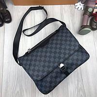 Молодежная мужская сумка мессенджер Louis Vuitton черная Качество сумка на плечо Брендовая Луи Виттон реплика, фото 1