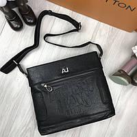 Кожаная женская сумка мессенджер Armani Jeans черная натуральная кожа сумка на плечо Армани Джинс реплика
