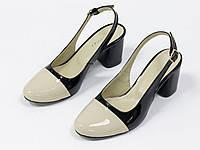 Женские туфли с открытой пяткой из натуральной итальянской черной кожи и лаковой кожи светло-бежевые 36-41