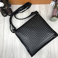 Кожаная женская сумка мессенджер Bottega Veneta черная натуральная кожа сумка на плечо Боттега Венета реплика, фото 1