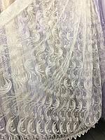 Кремовый тюль на фатиновой основе с вышивкой корд (шнуром)
