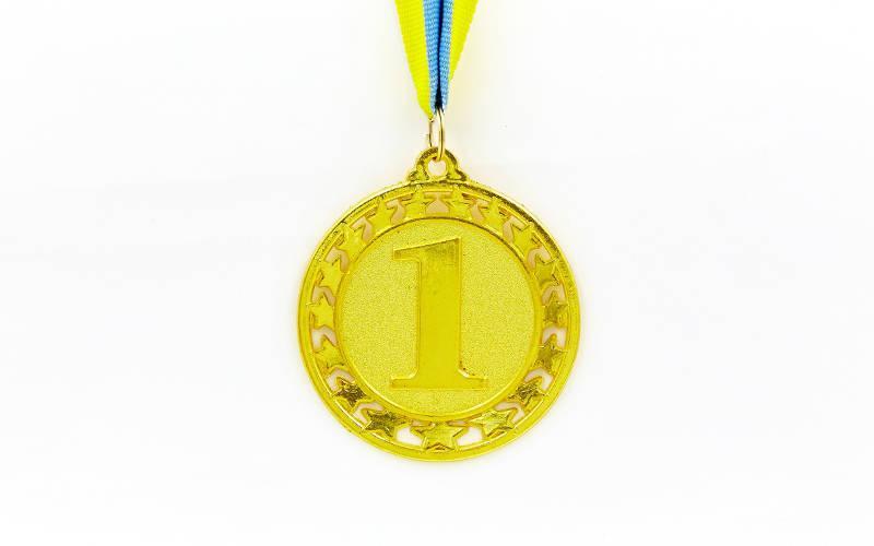 Медаль спортивная с лентой STROKE d-6,5см (металл, d-6,5см, 44g золото, серебро, бронза) PZ-C-4330