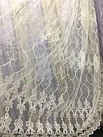 Молочный тюль с вышивкой корд шнурком