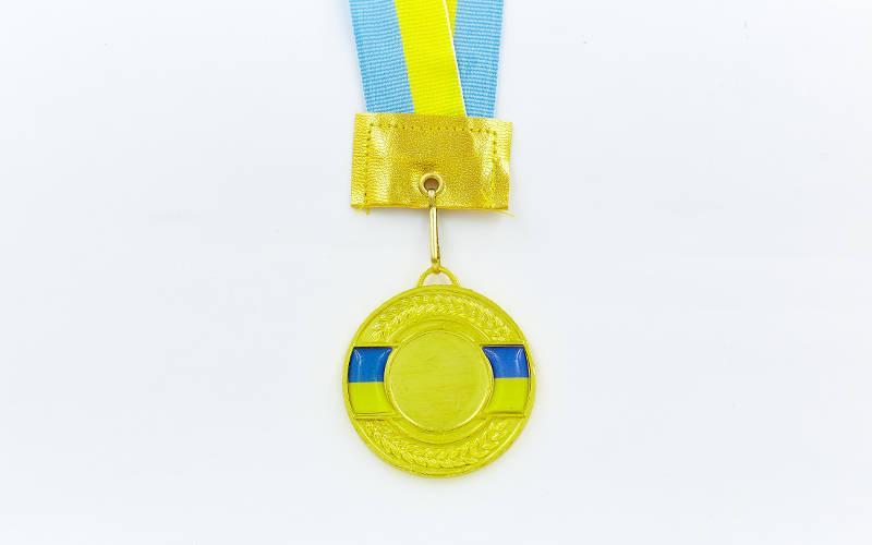 Заготовка медали спортивной с лентой UKRAINE d-5см с украинской символикой (1-золото, 2-серебро, 3-бронза) Золотой PZ-C-3242_1