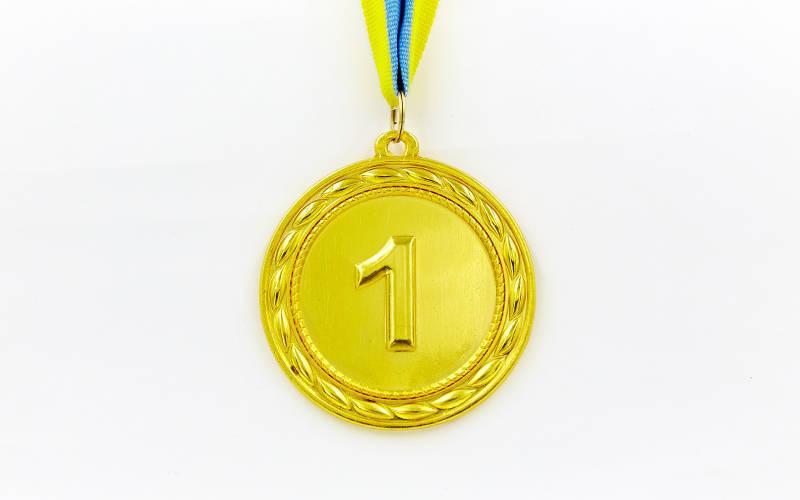 Медаль спортивная с лентой ABILITY d-6,5см (металл, 38g, 1-золото, 2-серебро, 3-бронза) Золотой PZ-C-4841_1