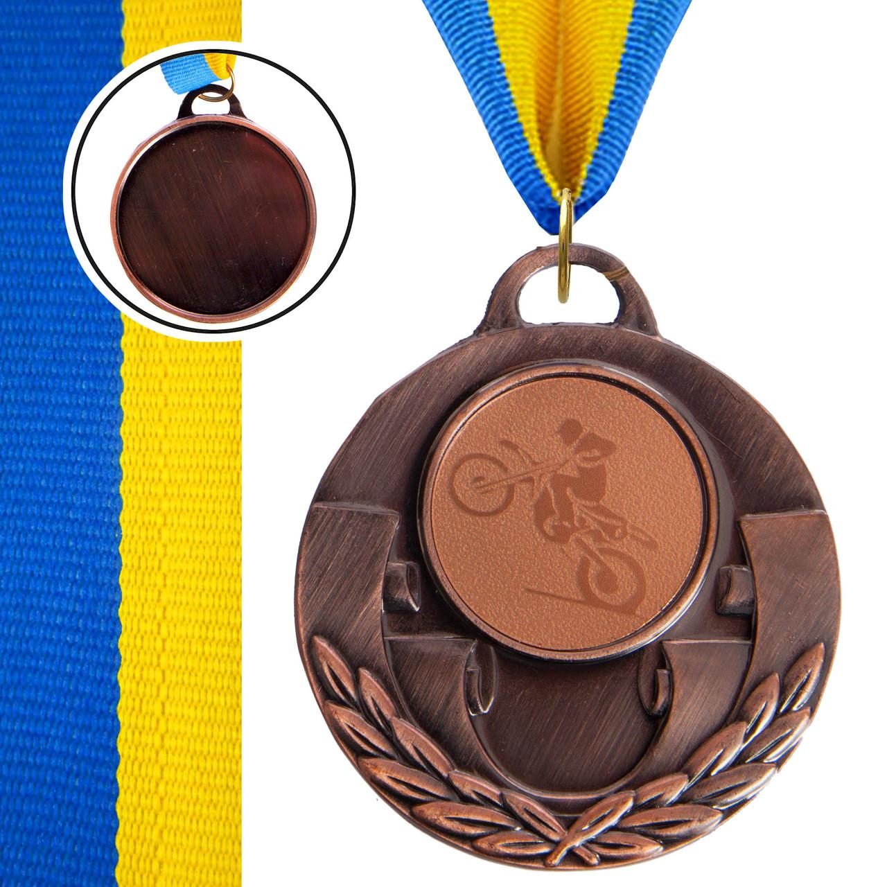 Медаль спортивная с лентой AIM d-5см Мотогонки (металл, 25g, 1-золото, 2-серебро, 3-бронза) Бронзовый PZ-C-4846-0035_1