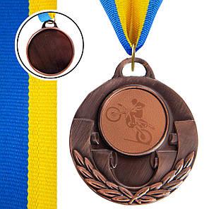 Медаль спортивная с лентой AIM d-5см Мотогонки (металл, 25g, 1-золото, 2-серебро, 3-бронза) Бронзовый PZ-C-4846-0035_1, фото 2