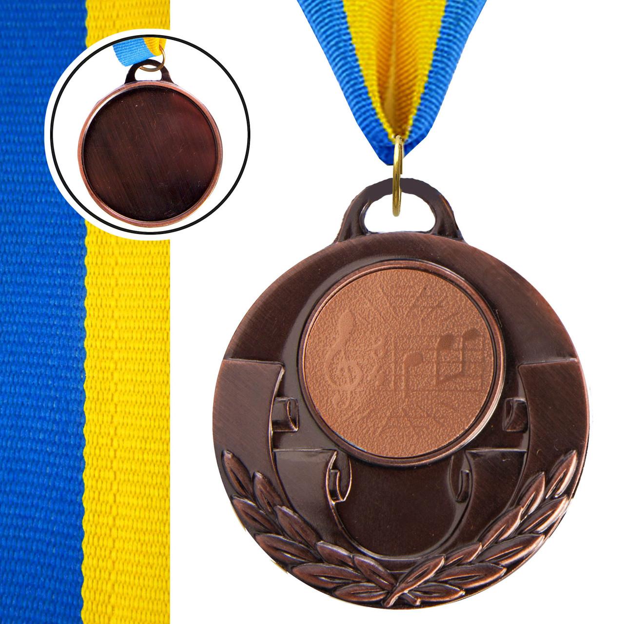 Медаль спортивная с лентой AIM d-5см Музыка (металл, 25g, 1-золото, 2-серебро, 3-бронза) Бронзовый PZ-C-4846-0067_1